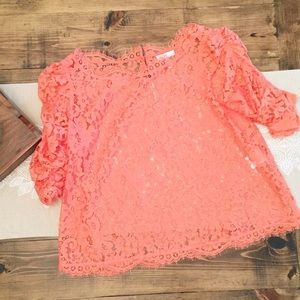 Joie Tops - Joie REVOLVE Fanny Lace Blouse Top Hot Coral